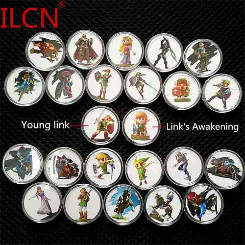 Full Set 24Pcs Zelda Breath of the Wild Game Collection Coin Ntag215 Tag NFC Card with Link's Awakening Mario For NS Switch WiiU