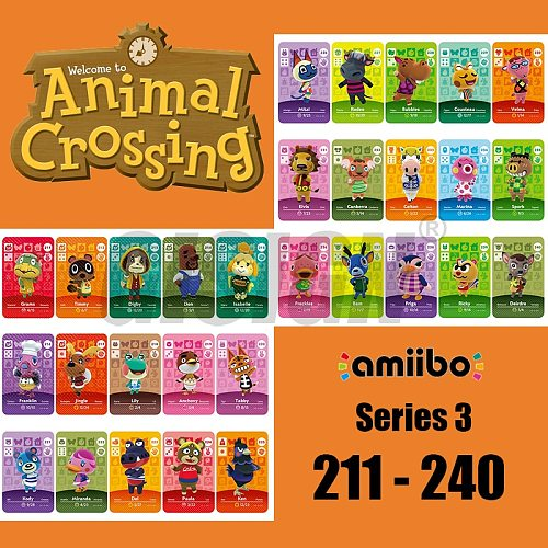 New Horizons Amiibo Animal Crossing Card For NS Switch 3DS Game Marshal Card Set NFC Cards Series 3 (211 to 240)