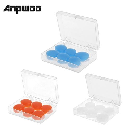 ANPWOO 6PCS Earplugs Protective Ear Plugs Silicone Soft Waterproof Anti-noise Earbud Protector Swimming Showering Water Sports