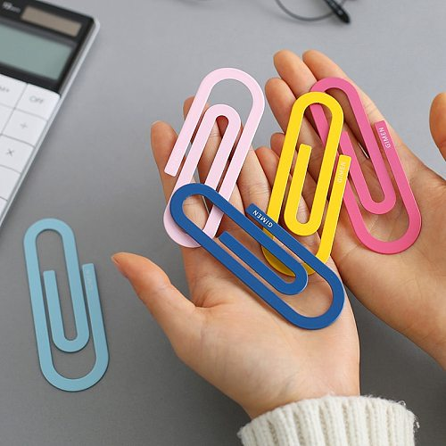 2 Pcs/pack Cute Colorful Large Metal Paper Clip Bookmark Kawaii Stationery Paperclips Planner Clips Office School Supplies