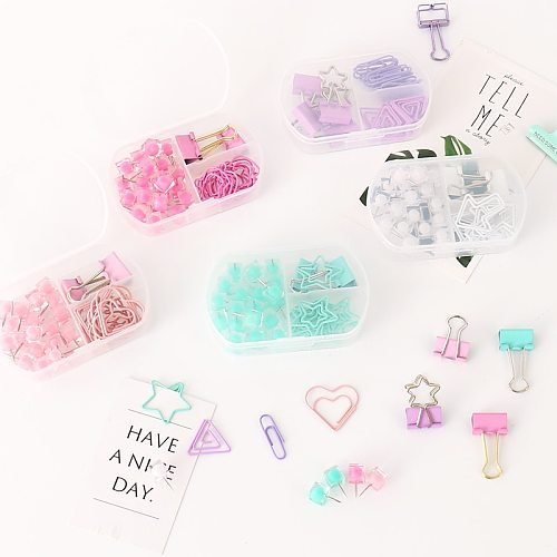 TUTU coloful Binder clips push pins paper clip stationery combination set pushpin clip H0300