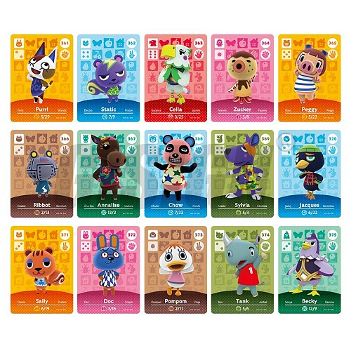 New Horizons Amiibo Animal Crossing Card For NS Switch 3DS Game Marshal Card Set NFC Cards Series 4 (361-390) 385 Lucky