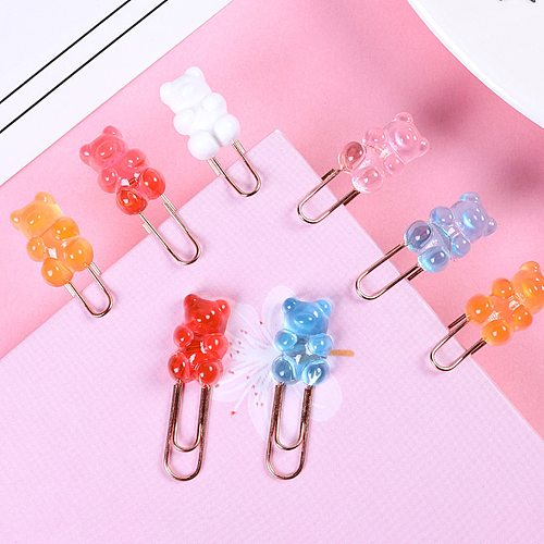 2pcs/lot Kawaii Rainbow Bear Paper Clip Decorative Bookmark Binder File Clips School Office Stationery Accessories