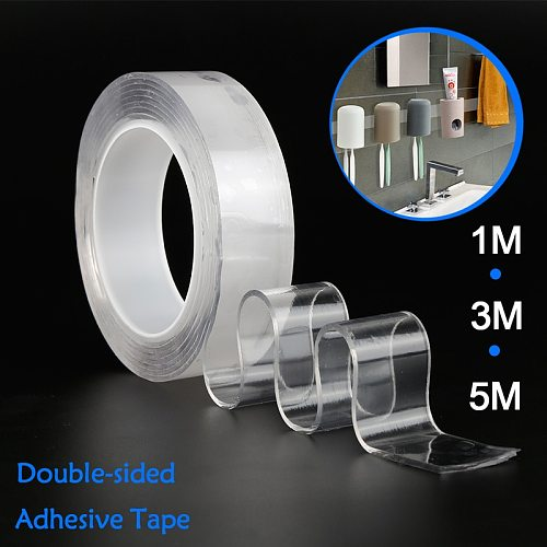 1/2/3/5m Reusable Double-Sided Adhesive Tape Nano Traceless Removable Stickers Adhesive Tapes PU Glue Gadget Fasteners dropship