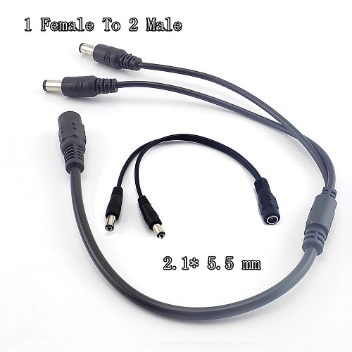 1 Female To 2 Male Splitter Plug Cable 2.1*5.5Mm Dc Power Splitter Plug Cable 12V for Cctv Camera Surveillance A7