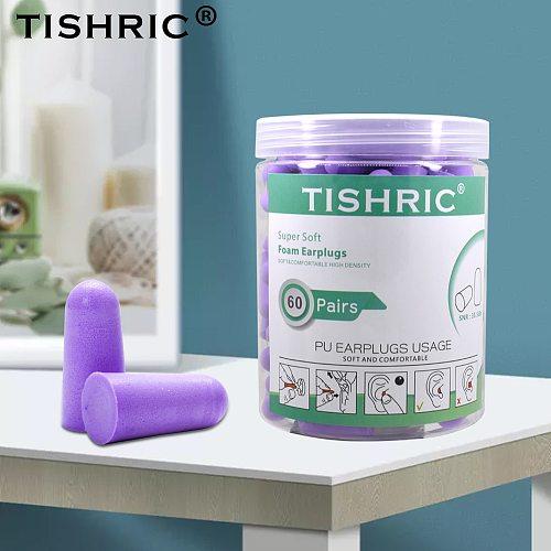 TISHRIC 30/60 pairs Earplugs 35.5db Anti-noise sleeping Ear Plugs PU Sponge Ear Protection Swimming Ear Plugs