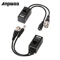 ANPWOO 1 Pair BNC To RJ45 Passive Video Power + Audio Balun Transceiver For CCTV Camera