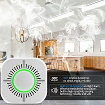 TISHRIC Wireless Smoke Sensor Detector 433mhz Fire Alarm System Security works with Sonoff Bridge Wifi Google/Smart Home Alexa