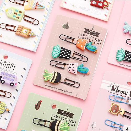 Sharkbang 8pcs/lot Kawaii Animal Cat Pineapple Owl Metal Paper Clip Decorative Bookmark Photo Cards Clips School Stationery