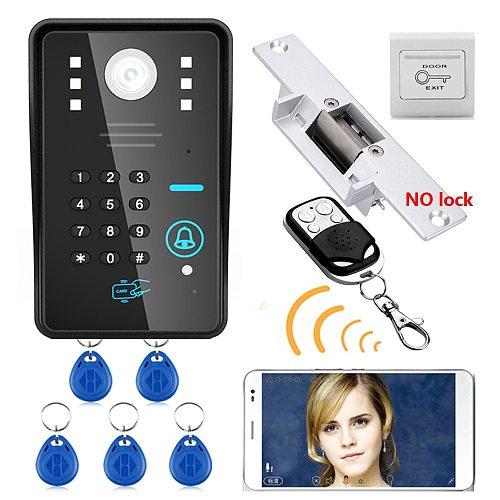 MAOTEWANG Wireless WIFI RFID Password Video Door Phone Intercom System doorbell +Access Control System + NO Electric Strike Door