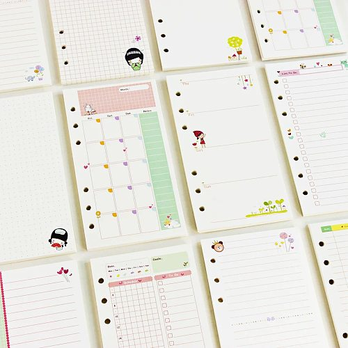 2021 45 Sheets Kawaii A5 A6 Loose Leaf Notebook Paper Refill Spiral Binder Index Inner Pages Monthly Weekly Daily Planner Agenda