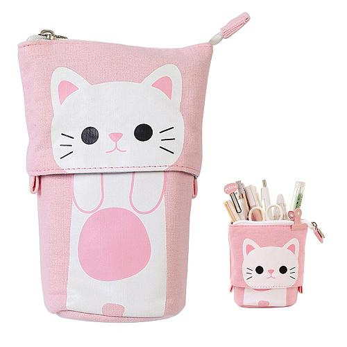 NEW Canvas Cartoon Cute Cat Telescopic Pencil Pouch Bag Stationery Pen Case Box with Zipper Closure Pencil Case Cartoon Cat  Bag