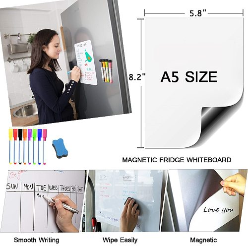 Magnetic Whiteboard Dry Erase Board Erasable Markers Practice Writing Drawing White board For Kids Bulletin Door Board Stickers