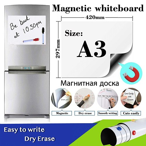 A3Size Magnetic Whiteboard Sticker Fridge Soft Dry Erase White Board School Office Kitchen Message Boards Memo Pad Remind Record