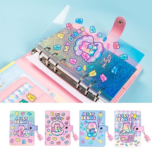 Cute Notebook A6 Binder Agenda Journal Kawaii Diary Notepad Office Planner Organizer Spiral Daily Note Book 6 Rings Stationery