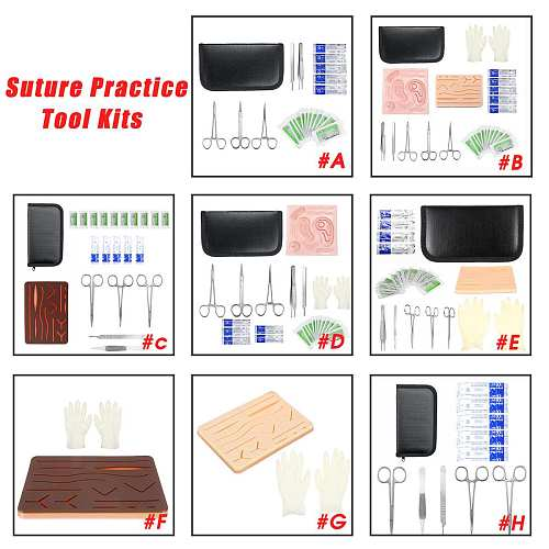 Medical Instrument Skin Suture Practice Kit Surgical Training Model Silicone Stitching Suture Pad Needle Scissors Teaching Tool