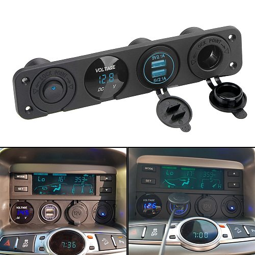 12V Power 4 In 1 Switch Panel Waterproof Digital Voltmeter Car Dual Usb Charger Socket Cigarette Lighter With Rocker Switch