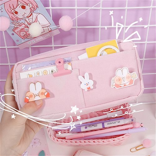 kawaii Large Pencil Case Stationery Storage Bags Canvas Pencil Bag Cute Makeup Bag School Supplies for Girl Kids Gift w/ Badge