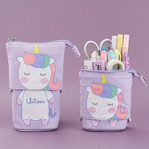 Cute Cat School Pencil Case for Girls Boy Pencilcase Canvas Cartridge Pen Bag Kawaii Unicorn Pen Box Stationery Korean Penal Kit