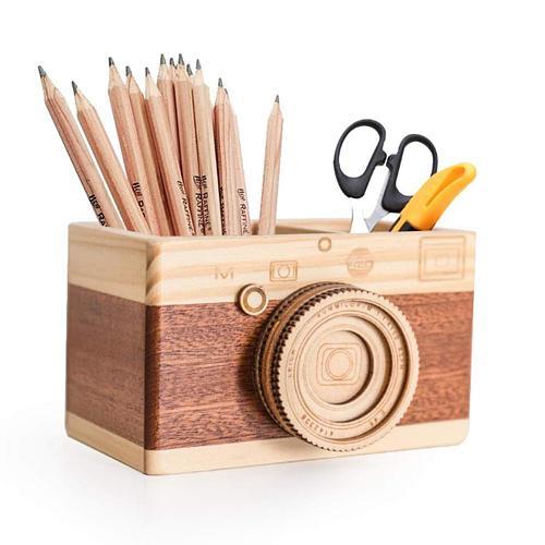 Creative Camera Wooden Pencil Holder Home Desktop Stationarys Makeup Organizer