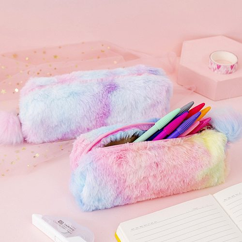 Kawaii Creative pencil case gradient color cute girl plush octagonal pen bag girl student simple storage bag
