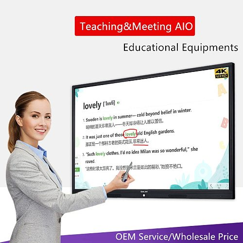 75 86 100 inch TV function Educational meeting teaching board TouchScreen Interactive smart whiteboard with pc built in