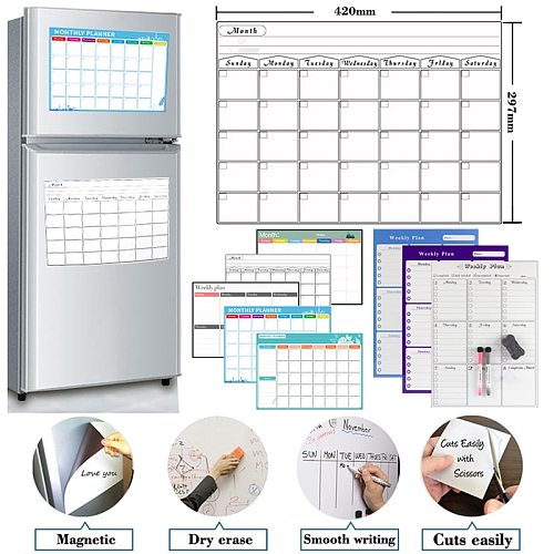 Magnetic Weekly Monthly Planner Calendar Table Dry Erase Whiteboard Schedules Fridge Sticker Message Board A3 Size