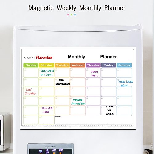 Magnetic Weekly&Monthly Planner Dry Erase Board for Calendar Fridge Sticker Writing Teaching Message Memo Soft Magnet Door Board