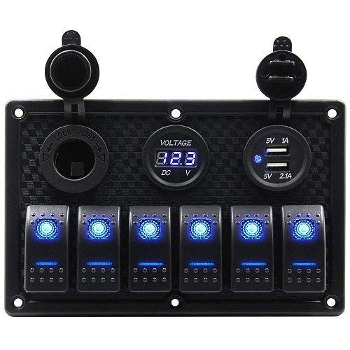 Waterproof 6 Gang Marine Boat Rocker Switch Panel With Fuse 4.2A Dual USB Slot Socket + Digital Voltage Display + Cigarette Li
