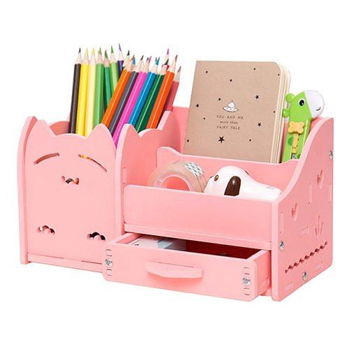 Multi - Functional Pen Holder Students Cute Desktop Wood Accessories Stationery Barrels Storage Box