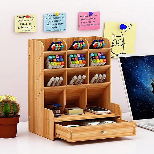Office Desk Wood Pen Pencil Holder case Multi-Divided Desktop organizer Storage Container organizador de escritorio accessories