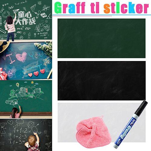45*100CM Self-adhesive Removable Dry Wipe Paper Blackboard Chalkboard White Board Marker Graffiti Wall Sticker for Kids Painting