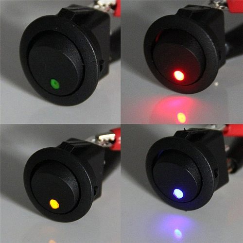 4Pcs DC12V Waterproof ON/OFF Car Round Rocker LED Light Toggle Switches Red&Blue&Yellow&Green Switches Accessories