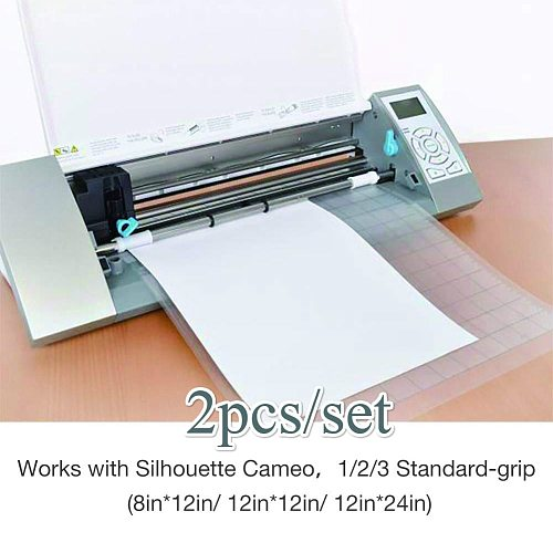 2PCS Replacement Cutting Mat Transparent Adhesive Mat Pad with Measuring Grid 12*12-Inch for Silhouette Cameo Plotter Machine