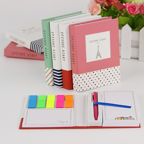 1 PC Creative Hardcover  Notepad Sticky Notes Kawaii Stationery Diary Notebook and Pen Office School Supplies