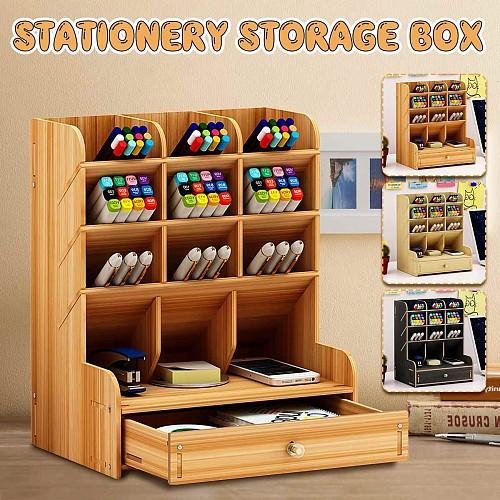 Wooden Pen holder Fashion Desktop Multifunctional Receiving Box  with drawer Office Pen Pencil Organizer Desk Organizer Storage
