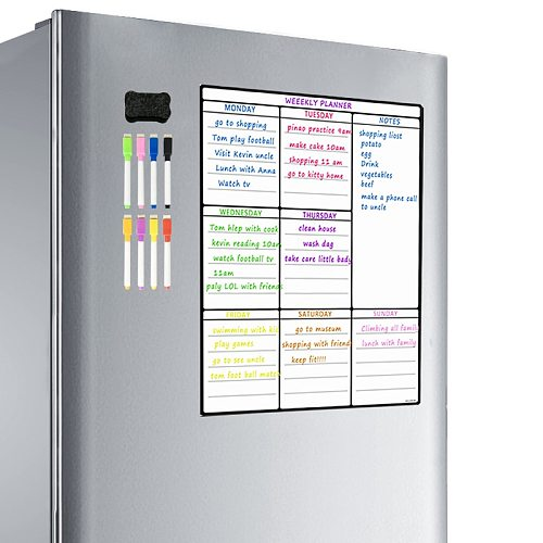 Magnetic Whiteboard Sheet For Kitchen Fridge Multipurpose Fridge Weekly White Board Calendar For Menu Planning with 8 pen