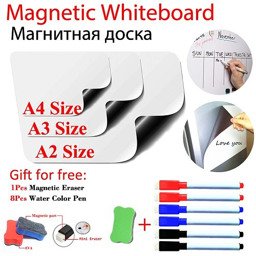 New Magnetic WhiteBoard Fridge Stickers Menu Dry Erase Monthly Weekly Daily Recipe Planner Calendar Table White Board