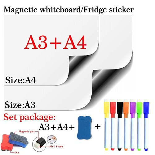 A3+A4 Set Package Magnetic Whiteboard Soft Home Office Kitchen Magnet Dry Erase Board White Board Flexible Pad Fridge Sticker