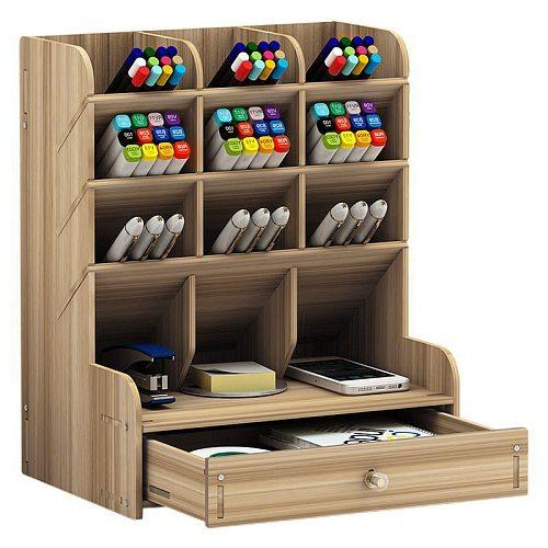 Multi-function Wooden Desktop Pen Holder Office School Storage Case Desk Pen Pencil Organizer Storage Supplies Box Accessories
