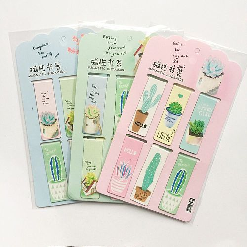 1PCS/6pcs Kawaii Cat Cactus Magnetic Bookmarks Cute Books Marker Stationery School Office Supply Paper Clip Holder