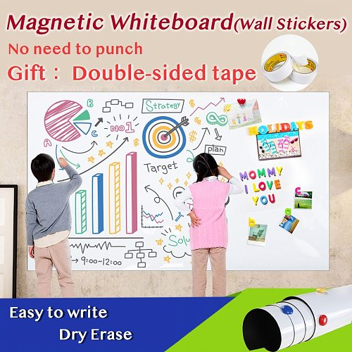 Size 420*900mm Magnetic Whiteboard Dry Eraser White Board Memo Wall Stickers School Office Magnetic Pad Gift Double-sided Tape