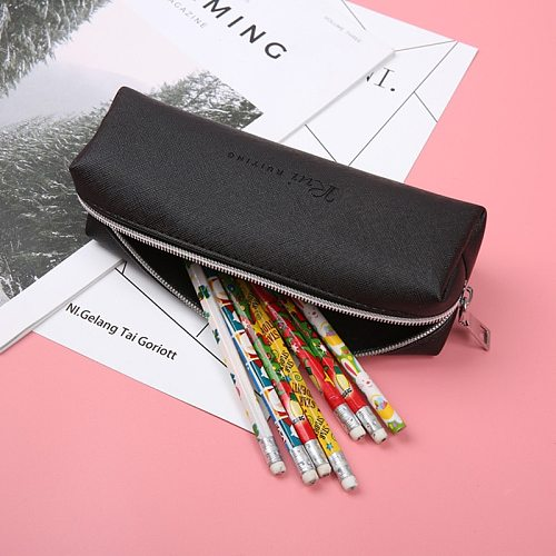 High Grade Simple Black Pencil Case High Capacity Business Pencilcase For Kids School Office Supplies Creative Stationery