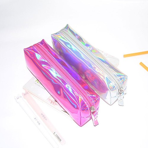 Holographic Iridescent Laser Pencil Case Quality PU School for Girls Boy School Supplies Stationery Cute Pencil Box Pencil Bag