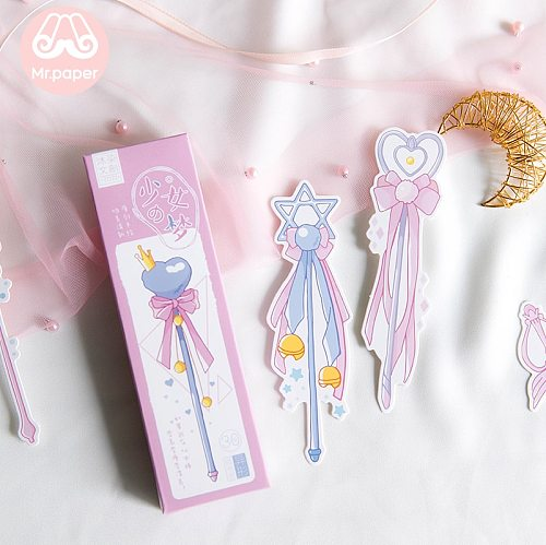 Mr Paper 30pcs/box Cartoon Dreamy Pink Fairy Wand Irregular Bookmarks for Novelty Book Reading Maker Page Paper Bookmarks Gifts