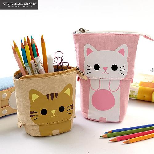 Flexible Big Cat Pencil Case Fabric Quality School Supplies Stationery Gift School Cute Pencil Box Pencilcase Pencil Bag