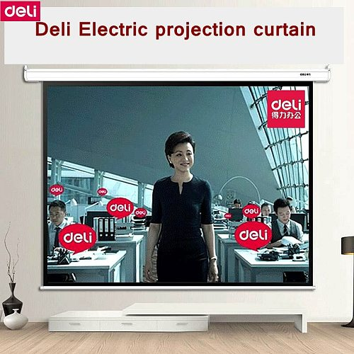 Deli 50492 100 (2080x1480mm) 4:3 Electric Projection curtain Meeting room projection curtains 220-230V 50HZ