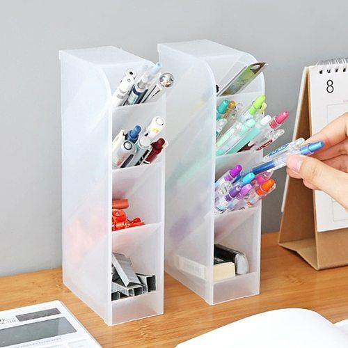 4 Grid Desktop Pen Holder Pencil Makeup Brush Cosmetic Storage Organizer Box Storage Container Large Capacity Home OfficeStorage