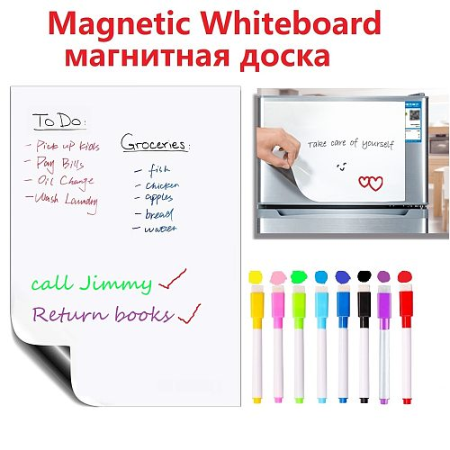 Soft Magnetic Whiteboard Fridge Magnets Dry erase White Board Marker Pen Record Message Board Memo Pad Home Reminder Notepad