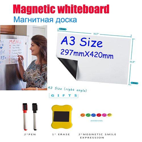 YIBAI A3 Magnetic Whiteboard Soft Home Office Kitchen Dry Erase White Flexible Fridge Magnet Free Gift 29.7*42cm